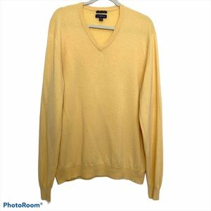 Club Room Men's V-Neck Yellow Cashmere Sweater XL